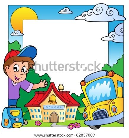 School theme frame 1 - vector illustration. - stock vector