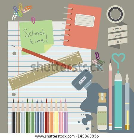 School time, school supplies  - stock vector