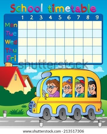 School timetable composition 8 - eps10 vector illustration. - stock vector