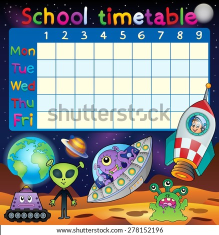 School timetable space fantasy theme - eps10 vector illustration. - stock vector