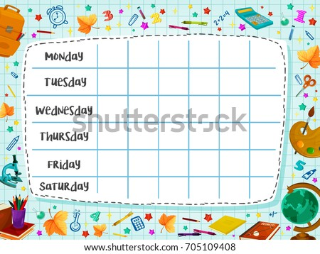 School Timetable Template Weekly Lesson Schedule Stock Photo Photo