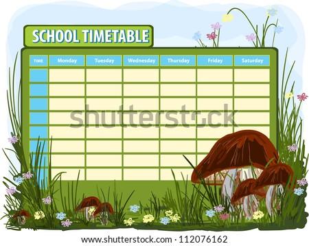 School timetable. Vector background - stock vector