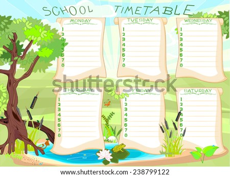 School timetable with green frog - stock vector