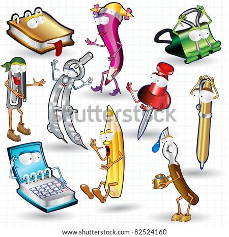 school tools cartoon character children - stock vector