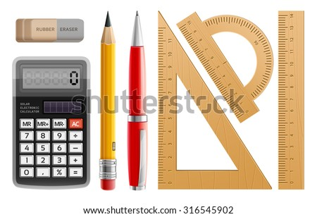 School tools for learning, pencil, pen, calculator, rulers and rubber. Eps10 vector illustration. Isolated on white background - stock vector