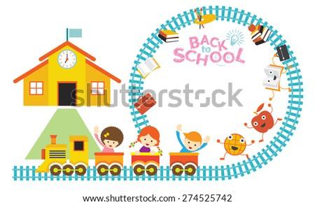 School, Train, Kids Frame, Kindergarten, Preschool, Education, Learning and Study Concept - stock vector