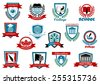 School, university or college educational emblems and symbols with education elements