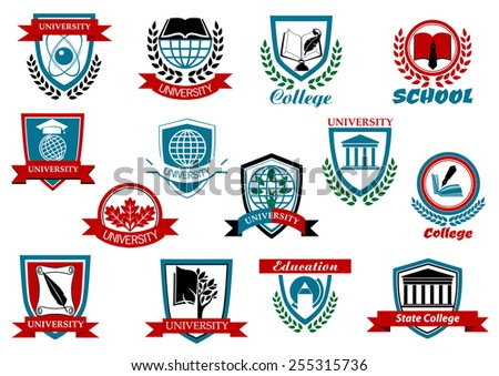 School, university or college educational emblems and symbols with education elements - stock vector