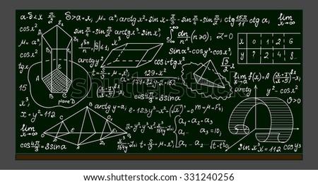 School vector blackboard with handwritten mathematical formulas, calculations and figures - stock vector