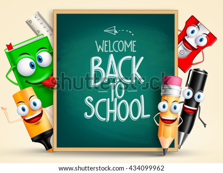 School vector characters of funny pencil, pen, sharpener and other school items holding blackboard with back to school writing. Vector illustration  - stock vector