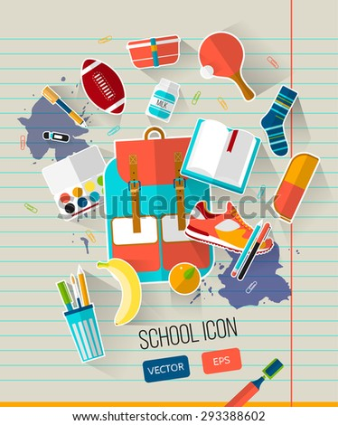 School vector illustration on line notebook paper. Education set of school icons. Flat style, long shadows. High school object college items. Creative card with teenager flying objects. Back to school - stock vector