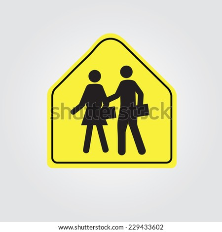 School Warning Sign - Yellow road sign with black silhouettes of people