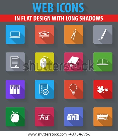 School web icons in flat design with long shadows