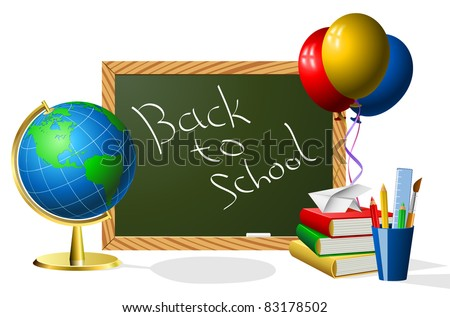School year beginning concept with blackboard.