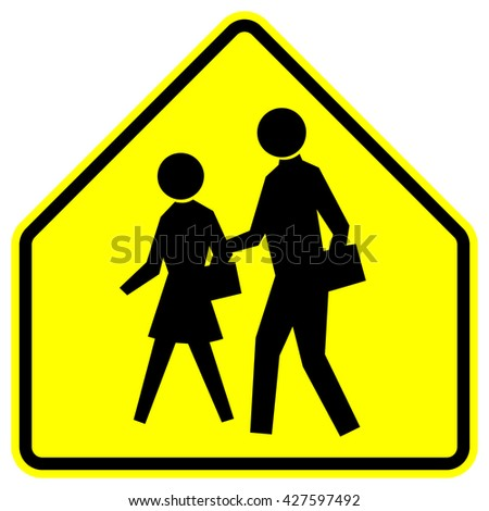 School - yellow warning sign with black silhouettes , vector illustration - stock vector