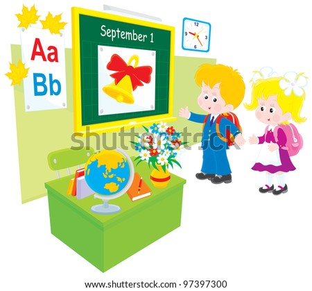 Schoolboy and schoolgirl in a classroom of grade school - stock vector