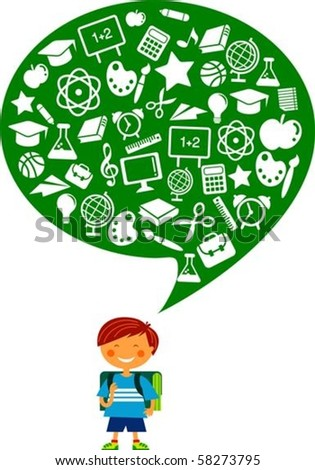 Schoolboy with many education icons - stock vector