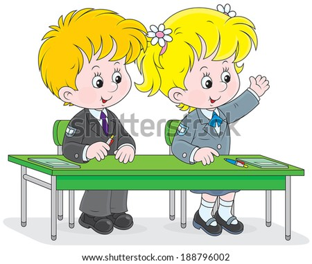 Schoolgirl and schoolboy sitting at their desk and answering a teacher's question at a lesson - stock vector