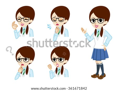 Schoolgirl full length and Facial expression set - stock vector