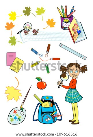 schoolgirl holding magnifying glass  and set of isolated school tools  on white background, children illustration - stock vector