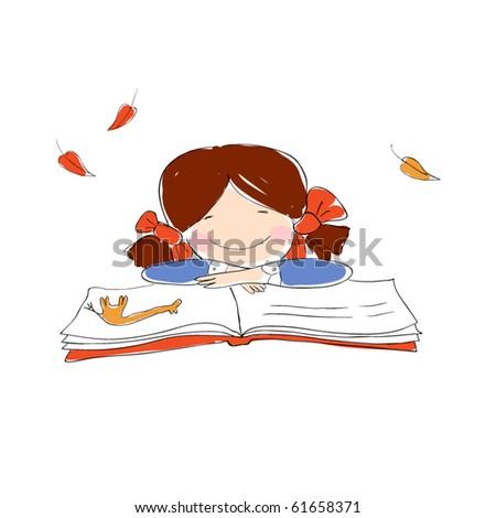 Schoolgirl with book and giraffe picture. - stock vector
