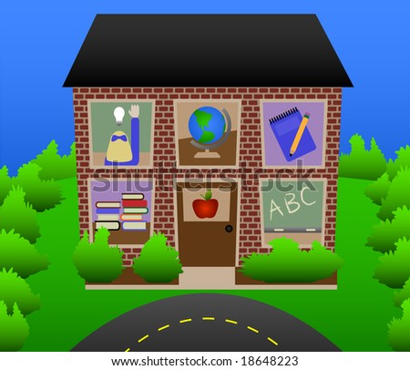 Schoolhouse with school scenes in windows. - stock vector