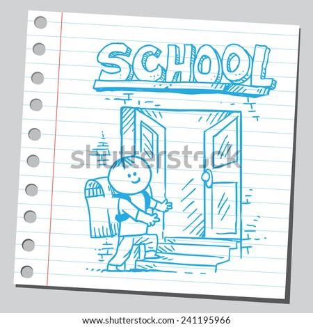 Schoolkid entering school ( back to school concept)  - stock vector