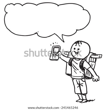 Schoolkid showing cell phone - stock vector