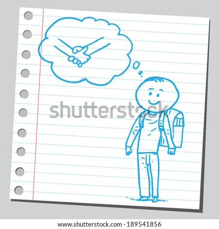 Schoolkid think about holding hands - stock vector