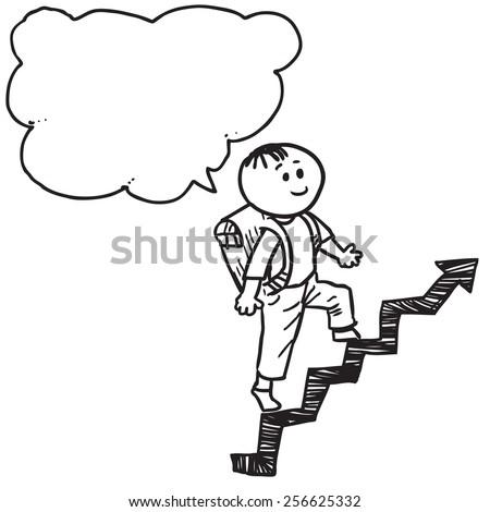 Schoolkid walk on arrow speaking - stock vector
