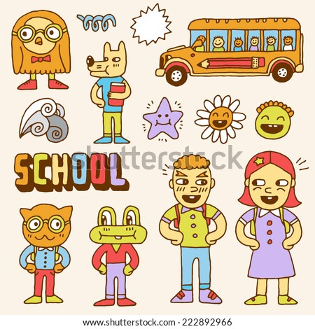 Schoolkids and animals colorful doodle set. Hand drawn. Vector illustration. - stock vector