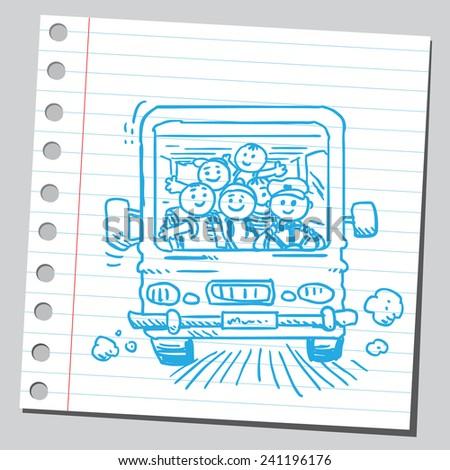 Schoolkids in school bus  - stock vector