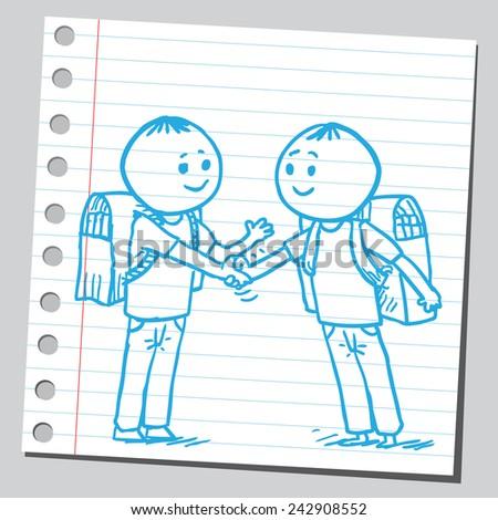 Schoolkids shaking hands - stock vector