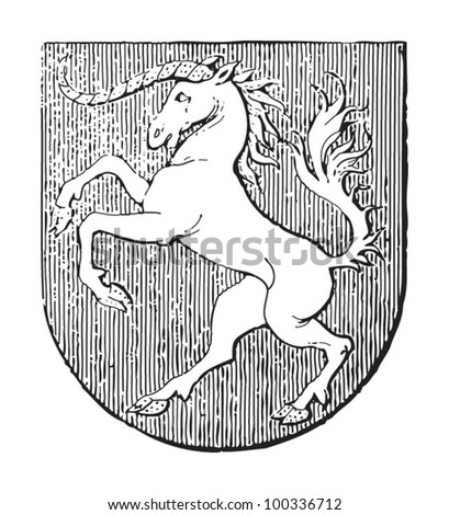 Schwabisch Gmund coat of arms (town in Germany) / vintage illustration from Meyers Konversations-Lexikon 1897 - stock vector