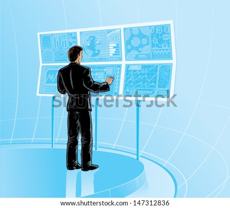 Sci fi room - stock vector