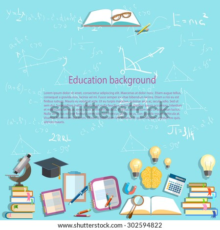 Science and education background chemistry algebra mathematics physics formula chemistry learning back to school university college textbooks lessons vector illustration - stock vector