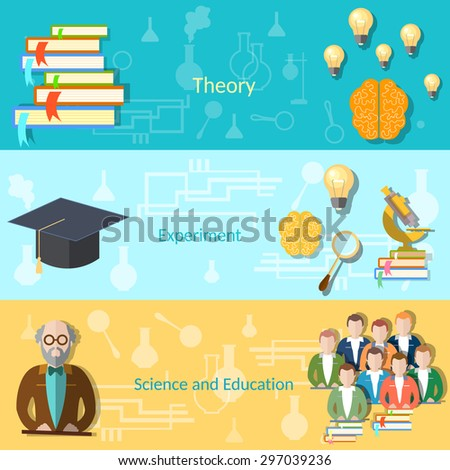 Science and education college students university examination power mind professor, study lessons, learning vector banners - stock vector