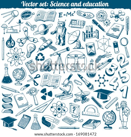 Science And Education Doodles Icons Vector Set - stock vector