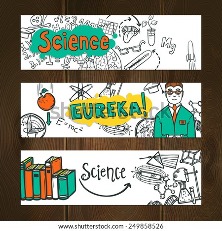 Science and education horizontal banner set hand drawn isolated vector illustration - stock vector