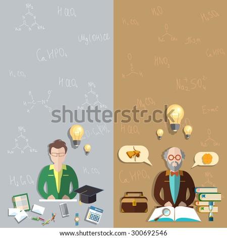 Science and Education professor training classroom student exam teacher school college university mathematical formulas vector banners - stock vector