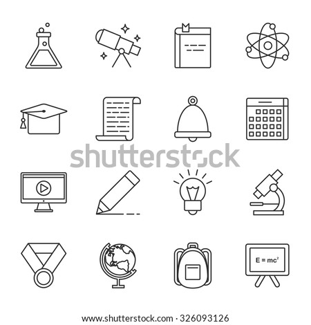 Science and education vector icons set modern line style