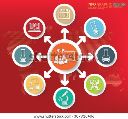 Science and learning concept info graphics design, clean vector - stock vector
