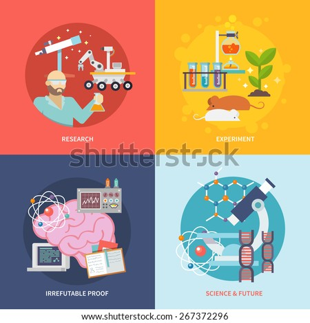 Science and research design concept set with experiment irrefutable proof future flat icons isolated vector illustration - stock vector