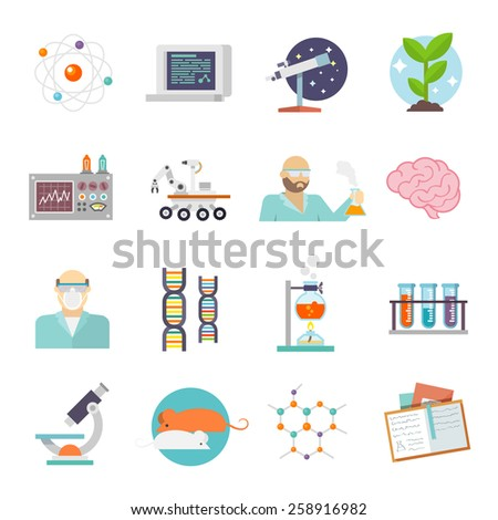 Science and research icon flat set with scientist lab and equipment symbols isolated vector illustration - stock vector