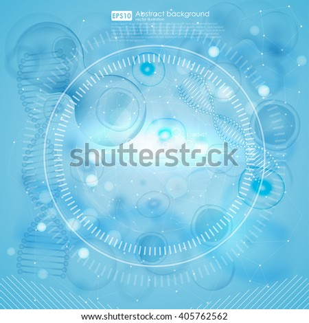 Science background with cells HUD. Blue cell background. Life and biology, medicine scientific, bacteria, molecular research DNA. Vector illustration 10eps. - stock vector