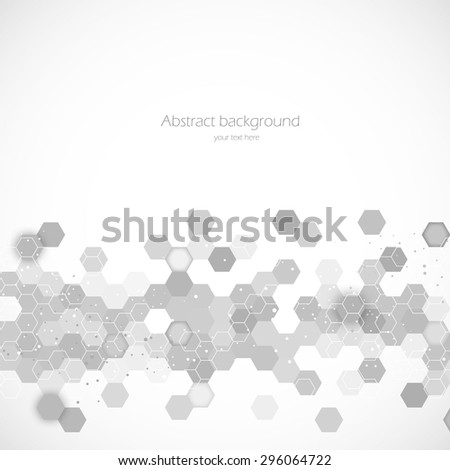 Science background with hexagons - stock vector