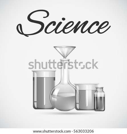 Science beakers with chemical inside illustration