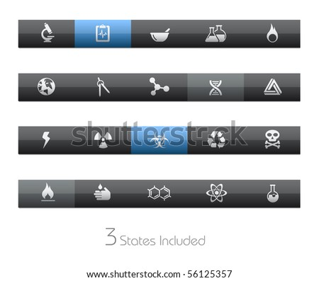 Science // Blackbar Series +++ It includes 3 buttons states in different layers. +++ - stock vector