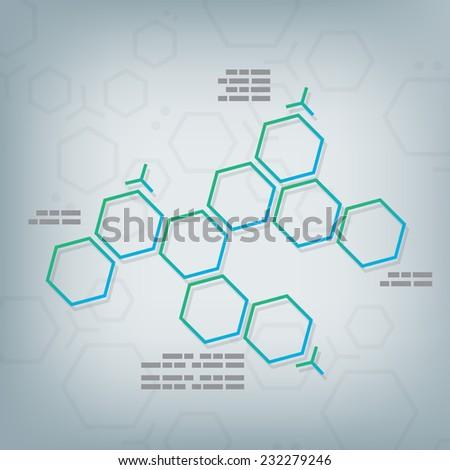 Science chemical hexagonal molecular vector design background. - stock vector
