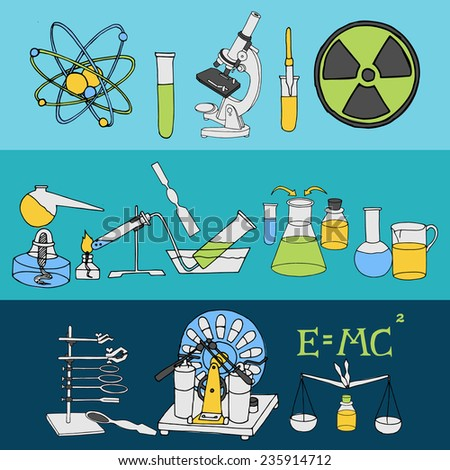 Science chemistry and physics scientific laboratory equipment colored sketch banner set isolated vector illustration - stock vector